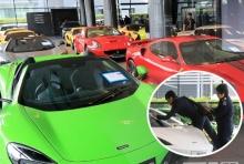 เผยภาพชวนตะลึง คลังรถสปอร์ตนำเข้าคาดหนีภาษี จอดเรียงหลายสิบคัน!!
