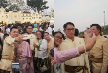 ทนายตั้ม - ลุงจรูญ แต่งชุดไทยเที่ยวงานอุ่นไอรักฯ ประชาชนแห่ให้กำลังใจ