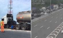 รถบรรทุกน้ำมันยางระเบิดชนราวสะพาน มอเตอร์เวย์ (ชมภาพ)