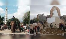 """ภาพก่อน-หลัง """"สถานที่สำคัญ"""" หลังเกิดแผ่นดินไหวเนปาล"""