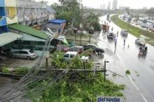 ฝนถล่มชลบุรีฟ้าผ่าเสาไฟล้มทับรถพัง3คัน