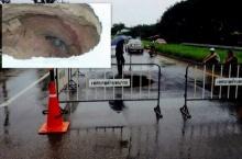 ท่อระบายน้ำรั่วทำถนนกระบี่ทรุดเป็นหลุมลึก4เมตร