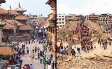 ชมภาพ ก่อน-หลัง เหตุเเผ่นดินไหวสะเทือนขวัญ เขย่าเนปาล โบราณสถานพังยับ!