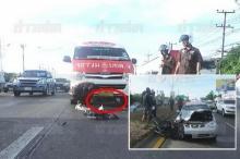 สยอง!! จยย.เด็กหนุ่ม16ขับย้อนศรชนเก๋ง ศพกระเด็นลอยไปหน้ารถตู้-ทับร่างซ้ำ