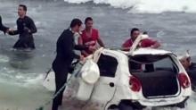 มือใหม่หัดขับ!! ทำรถเสียหลักพุ่งลงทะเล ครูฝึกดบสยอง!!