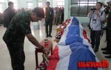 รดน้ำศพ4ทหารกล้าเหยื่อโจรใต้ ก่อนนำขึ้นฮ.บำเพ็ญกุศลยังบ้านเกิด