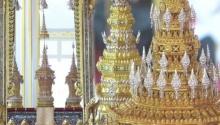 พระโกศ ทรงพระบรมอัฐิ ทำจากทองคำลงยา ประดับเพชรประดับ 5,368 เม็ด บรรจุเป็น 6 โกศ