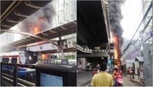 ผู้โดยสารโกลาหล!! ปิดสถานีบีทีเอสอ่อนนุชชั่วคราว-ไฟไหม้ด้านข้าง