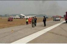 เครื่องบิน ทอ. ลงจอดสนามบินเชียงใหม่ ยางแตกไถลออกนอกรันเวย์