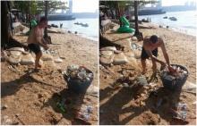 แห่กดไลก์!! นทท.ต่างชาติ ตระเวนเก็บขยะ หลังจบเทศกาลวันไหล
