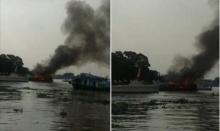 ด่วน! ไฟไหม้เรือท่องเที่ยวเกาะเกร็ด นนทบุรี