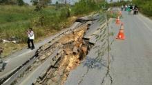 ปิดใช้งานถ.ธัญบุรี ลำลูกกาซ่อมถนนทรุดตัวซ้ำ