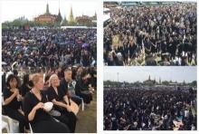 ประชาชนล้นสนามหลวง แต่งชุดดำเตรียมร้องเพลงสรรเสริญฯ (ประมวลภาพ)