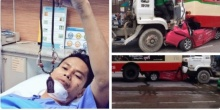 รอดปาฏหาริย์!! หนุ่มแท็กซี่โชว์พระหลังถูกรถปูนชนอัดรถเมล์