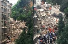 ตึก 9 ชั้นในจีนพัง สูญหาย 5 ราย!! คาดถูกดินภูเขาถล่มใส่ !!
