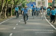 นักปั่นมีเฮ กทม.แปรสภาพ บึงรับน้ำหนองบอน เปิดเส้นทางจักรยานใหม่
