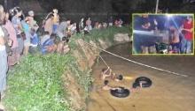 กระบะแหกโค้งพุ่งลงสระลึก หนุ่มชาวสวนร่างจมหายดับคาซากรถ