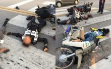 ระเนระนาด!! รถสายตรวจชนกับมอไซต์สนั่นถนน พังยับ คาดแหกด่าน!!