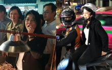 """ฮือฮา! """"หญิงหน่อย"""" สวมบทสก๊อย ซ้อนท้ายวินมอไซต์ลงพื้นที่พบประชาชน แวะชิมดักแด้ถนนข้าวสาร"""