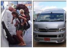 ตร.ยันฝรั่งบนทางด่วนลงจากรถตู้เองไม่ใช่แท็กซี่!!