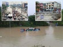 ฝนถล่มพัทยาน้ำท่วมมิดหลังคารถยนต์-จราจรติดหนึบ