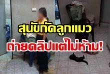 จิตใจทำด้วยอะไร! เจ้าของสุนัขยืนถ่ายคลิป สุนัขตัวเองกัดลูกแมว