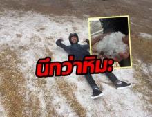 """ราวกับหิมะ! โซเชียลเผยภาพ """"สวนสนบ่อแก้ว"""" ที่ปกคลุมด้วยลูกเห็บ"""