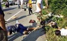 สยอง !! กระบะสองแถวโดยสาร เสียหลักลงข้างทางชนต้นประดู่ เทกระจาด ตายเกลื่อนถนน