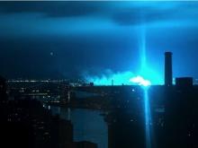 เกิดแสงประหลาดสีฟ้าที่กรุงนิวยอร์ค อเมริกา