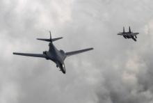 อเมริกาส่งบินทิ้งระเบิดฝึกซ้อมบนคาบสมุทรเกาหลี
