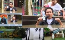 นักข่าวพม่าสุดลุย รายงานสดน้ำท่วมถึงอก