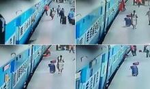 วินาทีสยอง!! หญิงอินเดียล้มตอนลงรถไฟ ถูกทับร่างขาด (มีคลิป)