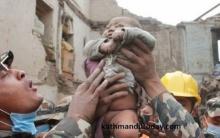 ปาฎิหาริย์!! ทารกวัย 4 เดือนกับหญิงเนปาลรอดชีวิตหลังติดอยู่ใต้ซากตึกมาราธอน