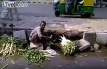 อึ้งหนัก!! หลังพ่อค้าเอาผักล้างน้ำครำริมถนน ก่อนขายต่อ(คลิป)