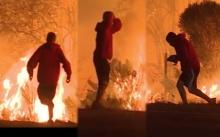 นาทีร้อนและร้อนรน!! ชายหนุ่มพยายามช่วยกระต่ายออกจากกองเพลิง (มีคลิป)