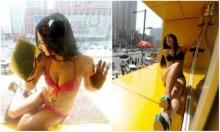 จีนจ้างพริตตี้สาวๆนุ่งบิกินี ปีนขึ้นไปเช็ดกระจกอาคาร เพื่อโปรโมทสินค้า!!