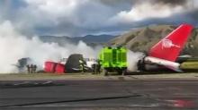 รอดปาฏิหาริย์ ! เครื่องบินลงจอดกระแทกพื้นไฟลุก ไร้คนเจ็บ