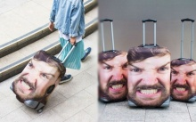 แก้ปัญหาด้วยไอเดียสุดฮา! กับเคสคลุมกระเป๋าเดินทางรูปหน้าตัวเอง!