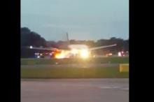 ระทึก!! เครื่องบิน แอร์ไลน์ส เกิดไฟลุกขณะลงจอดฉุกเฉิน