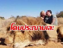 รุมประณาม! สามีภรรยาปลื้มฆ่าเจ้าป่าได้ จูบดูดดื่มเย้ยซากสิงโต