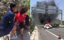 ต้องใช้ชีวิตต่อไปยังไงหรอ?? สามีถูกไฟคลอกต่อหน้า หลังรถเกิดอุบัติเหตุกลางถนน (มีคลิป)
